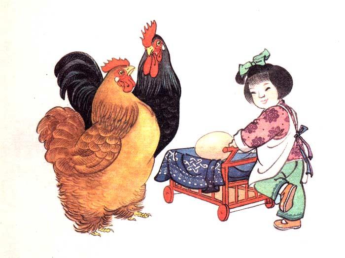 孩子的贴画母鸡